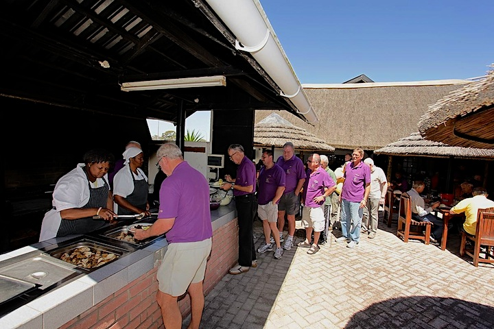Lunch being served at the Hunter's Retreat Hotel outdoor Boma in Port Elizabeth (Gqeberha).